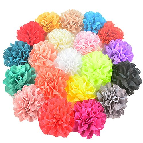 20 Pieces 3.14 Different Colors Handmade Chiffon Flowers for DIY Baby Flower Headband Girl Flower Accessories (AIH026)