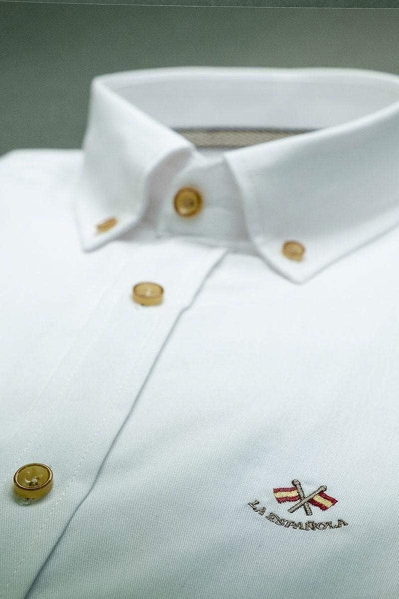 Camisa de Vestir Blanca con Coderas: Amazon.es: Ropa y accesorios