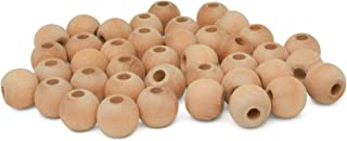 product image for Wooden Beads (38mm) 1-1/2 x 1/2 Inch Hole Pack of 100 Unfinished Wooden Bead Supplies Easily Threads, Smooth Natural Finish Paint and Stain by Woodpeckers