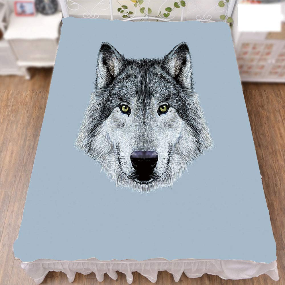 iPrint Bed Skirt Dust Ruffle Bed Wrap 3D Print,Gaze Sublime Animal Illustration Canine Beast,Best Modern Style Bed Skirt for Men and Women by 90.5''x96.5''