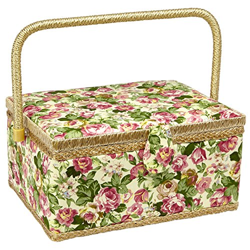 (Sewing Basket with Rose Floral Print Design- Sewing Kit Storage Box with Removable Tray, Built-In Pin Cushion and Interior Pocket - Large - 12