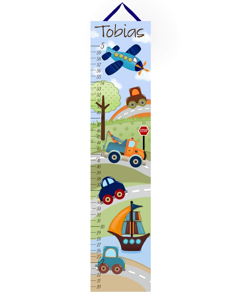 Toad and Lily Canvas GROWTH CHART Transportation Navy Orange Cars Trucks Boats Planes Boys Bedroom Baby Nursery Wall Art Growth Chart GC0020