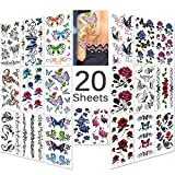 Lady Up 20 Sheets Mixed Style Body Art Temporary Tattoos Paper, Flowers, Roses, Butterflies and Multi-Colored Waterproof Tattoo for Women, Girls or Kids, 90×190mm (Roses Flower)
