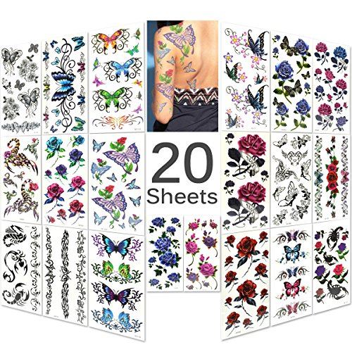 Lady Up 20 Sheets Mixed Style Body Art Temporary Tattoos Paper, Flowers, Roses, Butterflies and Multi-Colored Waterproof Tattoo for Women, Girls or Kids, 90×190mm]()