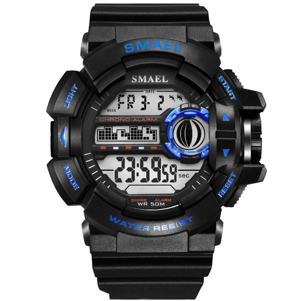 Tayhot - Reloj deportivo digital para hombre con cronógrafo, alarma LED y calendario de alarma, cronógrafo de cara grande, resistente al agua, 50 m, para correr al aire libre