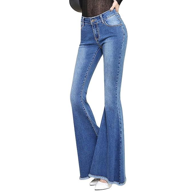 Pantalones Vaqueros Acampanados Cintura Media Pantalones ...