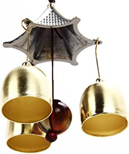 Patgoal Antique Copper 3 Bells Lucky Wind Chimes Outdoor Home Decoration