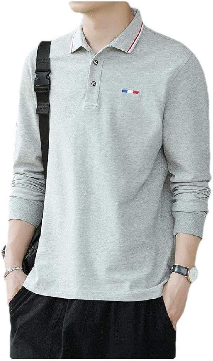 CuteRose Men Long-Sleeve Cotton Skinny Polo Polo-Collar Solid ...