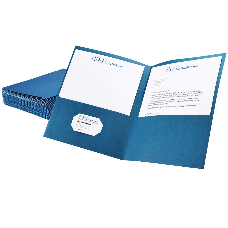 File-EZ Two-Pocket Folders, Light Blue, 25-Pack, Textured Paper, Letter Size (EZ-32520)