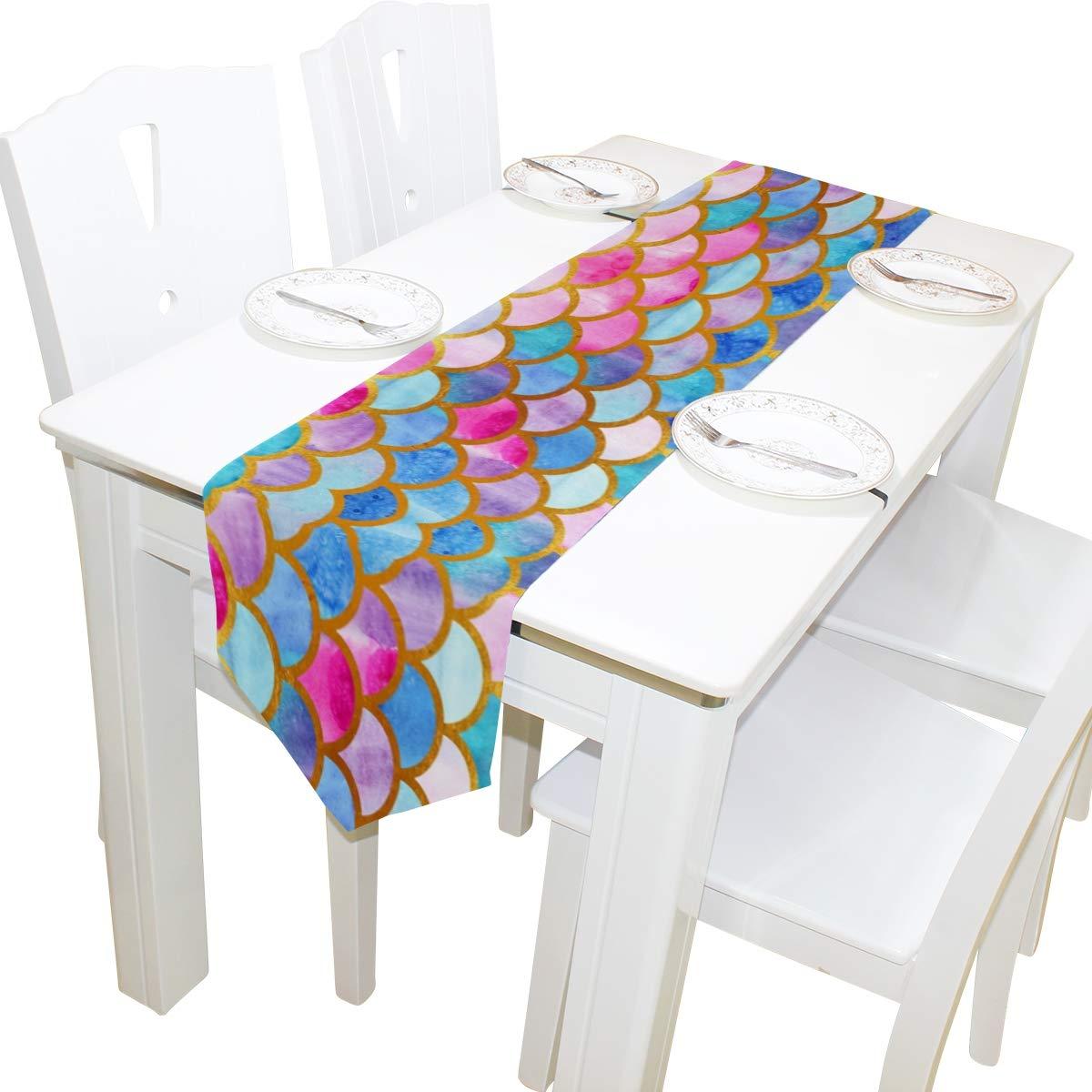 Ideale per Cucina Vacanze Hunihuni Banchetti Matrimoni Sala da Pranzo Runner da tavola colorato con Motivo a Squame di Sirena