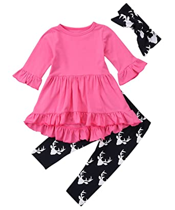 bc32abcb7a7f4 Amazon.com: Canis Baby Girls 3 Piece Irregular Hi-Low Tunic Ruffle Top and  Deer Leggings Outfit Set With Headband: Clothing