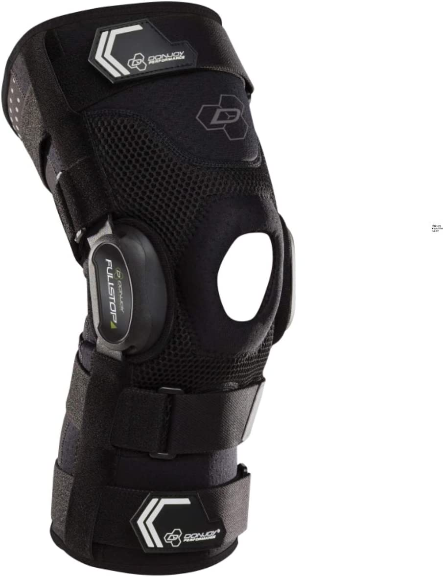 DonJoy Performance Bionic Fullstop ACL Knee Brace – 4 Points of Leverage Hinged Knee Support for Ligament Protection, Injuries, Prevent Knee Hyperextension for Football, Soccer, Lacrosse, Contact Sports