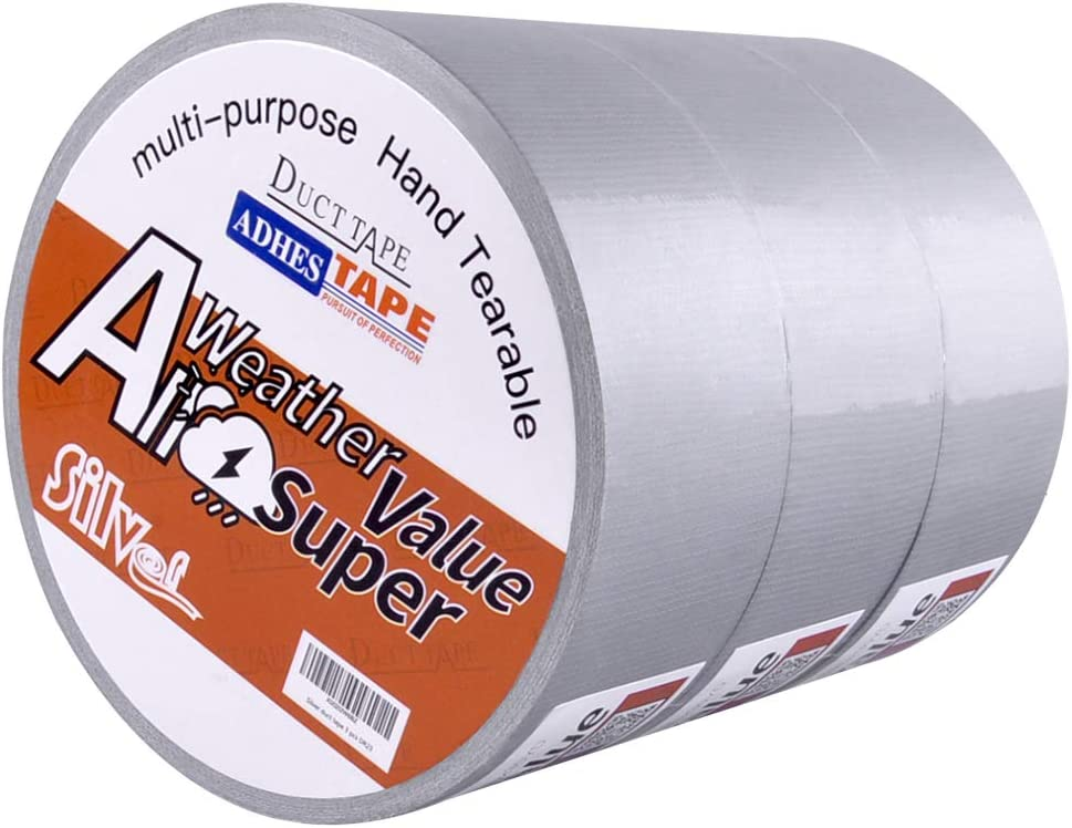 ADHES Heavy Duty Silver Duct Tape for Emergency Repairs and Home Office Use, 1.88inch,30yard,Pack of 3 Rolls