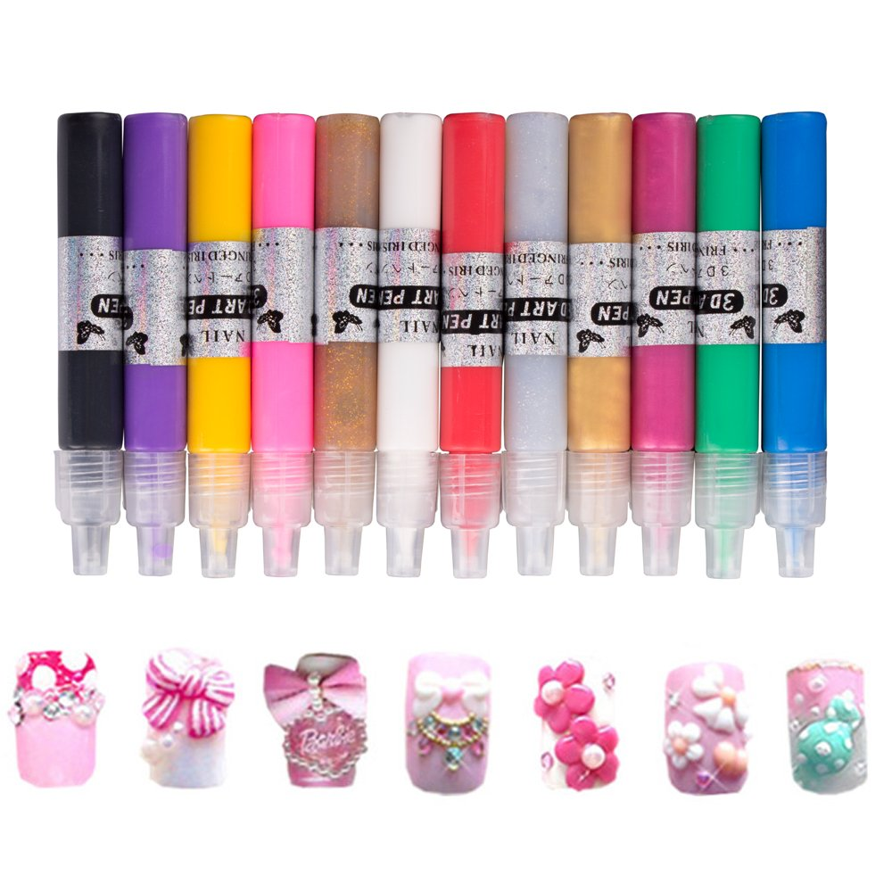 12 Colors Nail Art Pen 3D Design Fingers DIY Decoration Nail Beauty Tools Drawing Paint Pens Set Grew