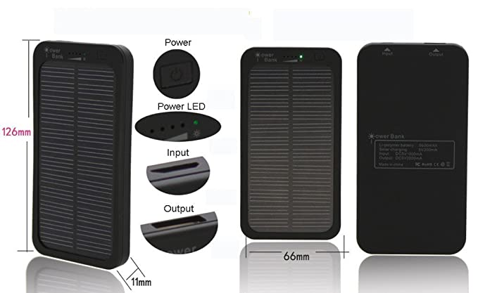 Amazon.com: Solar Power Bank 5000 mAh Bateria Externa ...