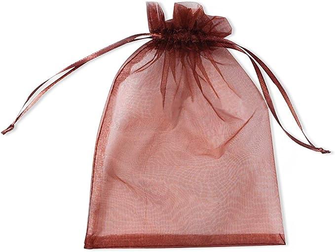 SXUUXB 100 pcs 13x18cm Bolsas de Regalo Coral Organza Gift,Bolsos de Lazo de Organza Jewelry Pouches Wrap para la Fiesta de la Boda de Navidad Blanco