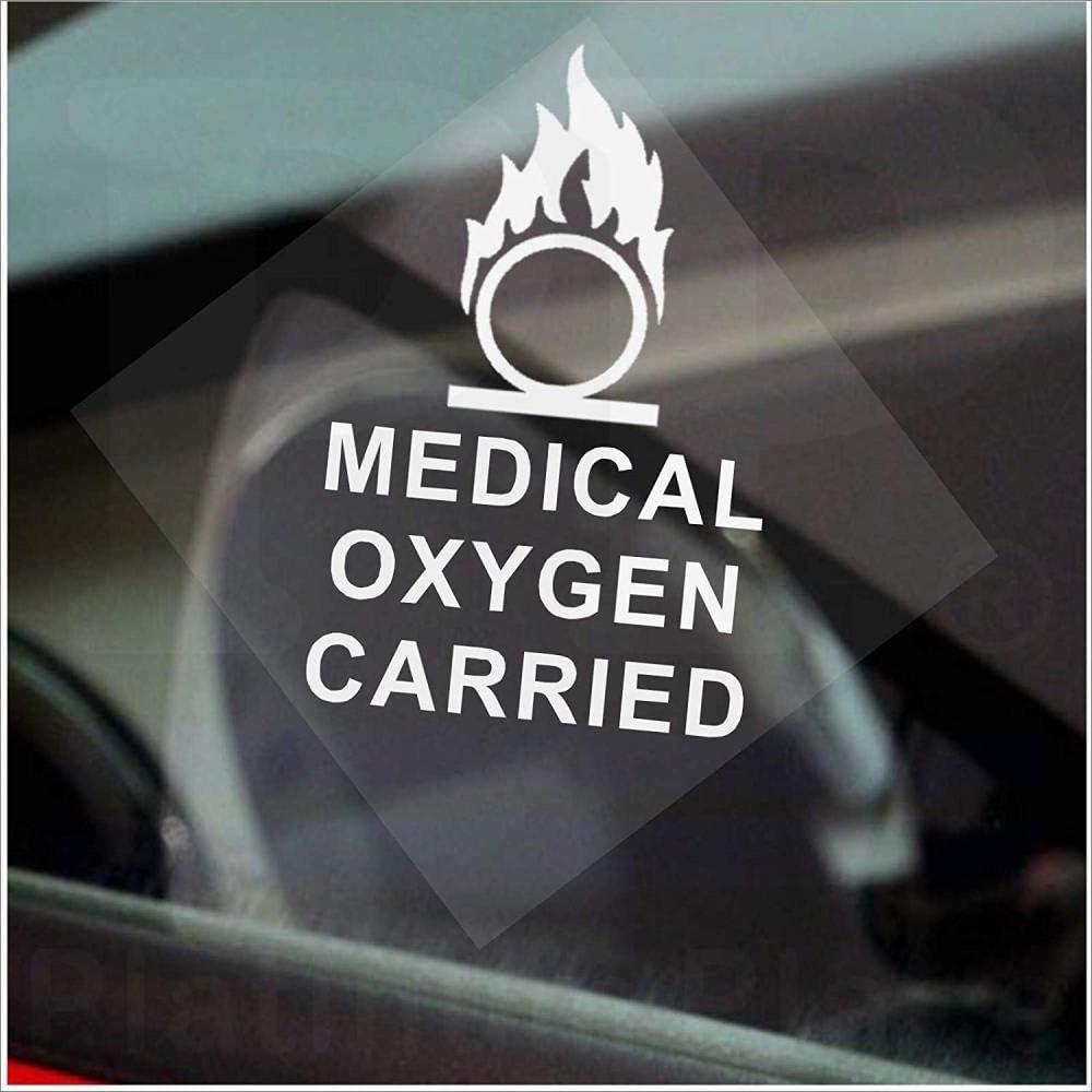Ventana de oxígeno médico llevado Blanco sobre etiqueta transparente Coche Van Autobús Cabina Taxi Minicab Ambulancia Autoadhesivo Vinilo-