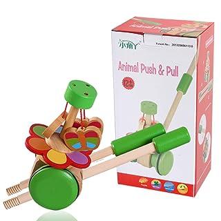 GSCshoe Giocattoli educativi in legno per bambini Cartone animato per bambini. Leva singola per bambino che spinge le campane della gioia (Edition : B)