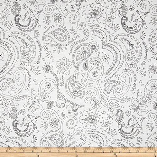 Black White Paisley Fabric - 1