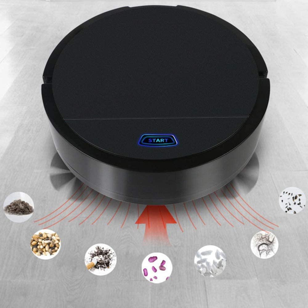 QBCNM Mini Entretien ménager Automatique Robot Balayer Portable, Machine, Lazy Intelligent Aspirateur Robot, Robot de Charge Automatique Balayer,Blanc Black