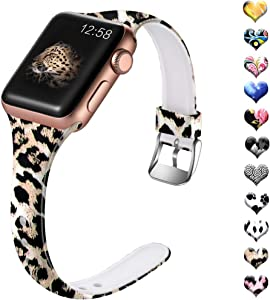 Henva Band Compatible with Apple Watch SE Band 40mm 38mm, Fashion Silicone Thin Wristband with Print Pattern for iWatch Series 6/5, Series 4, Series 3, Series 2, Series 1, Leopard Print Pattern, S/M