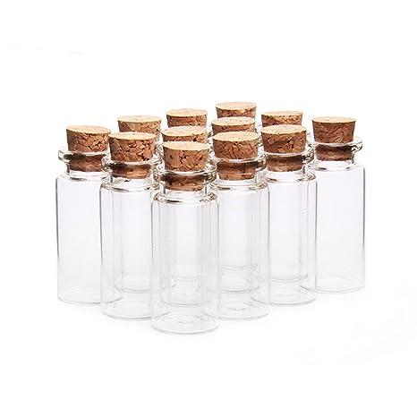 knowing 10pcs Vacías Muestras Botella de Cristal,10ml Mini tarros de cristal botellas frascos con