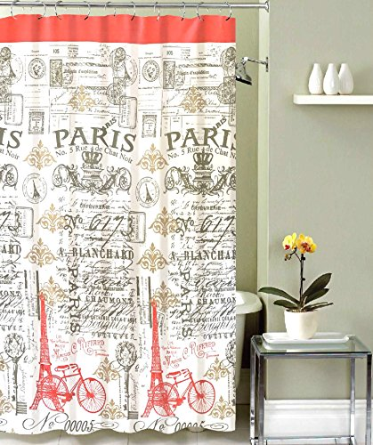 Coral Tower (Paris Postal Fabric Shower Curtain: Modern Antique Style Coral Grey White Eiffel Tower Stamp Toile Design)