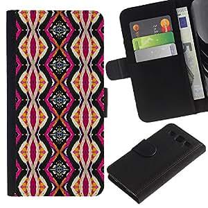 SAMSUNG Galaxy S3 III / i9300 / i747 Modelo colorido cuero carpeta tirón caso cubierta piel Holster Funda protección - Ethnic Culture Pink Vertical