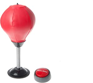 Draysvet BS Button and Inflating Pump with Desktop Punching Bag Stress Relief Buster Punch Ball Red Leather