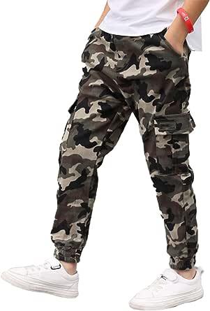 dPois Pantalones Cargo Niño Camuflaje Moda Callejera Urbana Pantalón Deportivo Hip Hop para Adolescentes Jóvenes y Niños Pantalones Sueltos