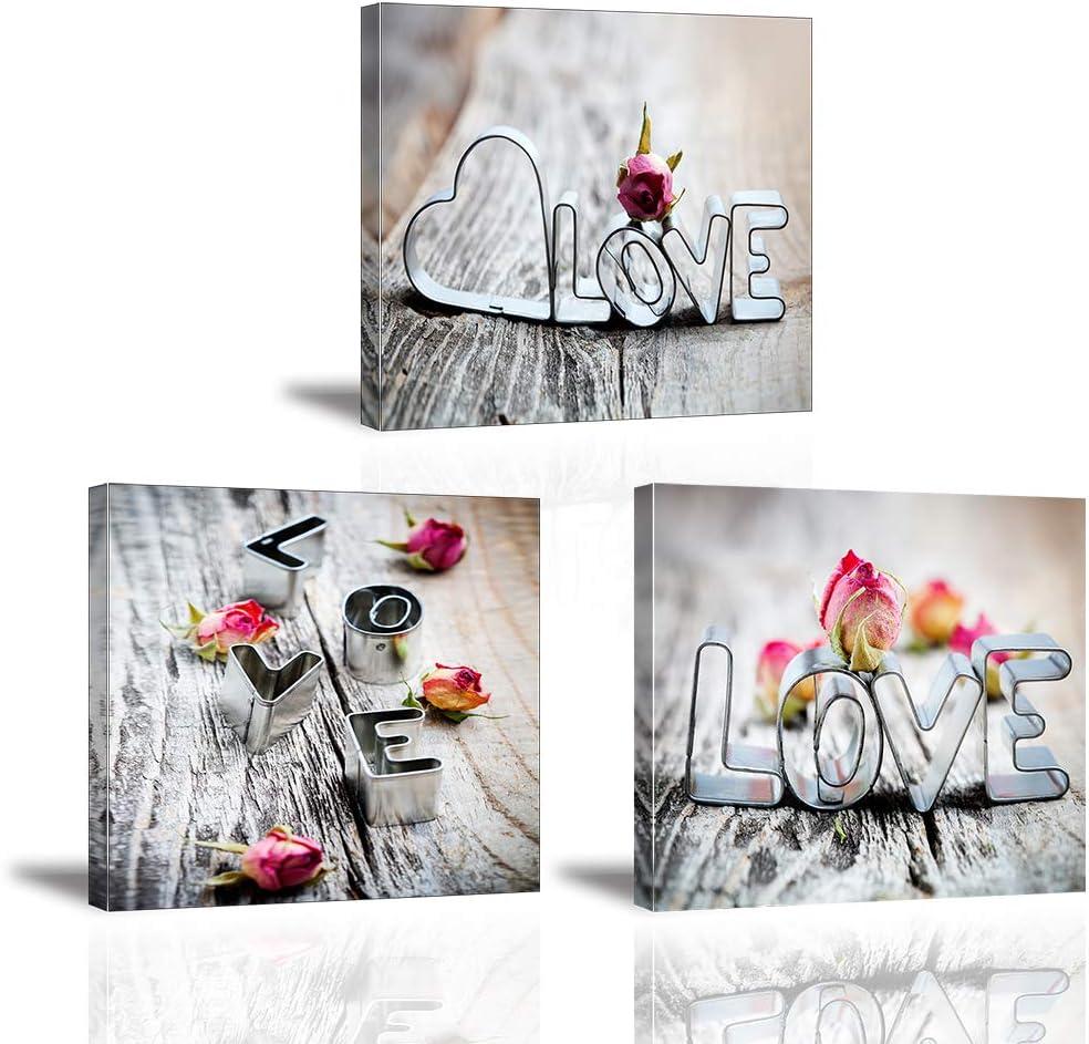 Piy Painting 3X Cuadro sobre Lienzo Imagen Flores Rosas y Forma de Corazon Impresión Pinturas Murales Decoración Dibujo con Marco para Sala de Estar Decor 30x30cm