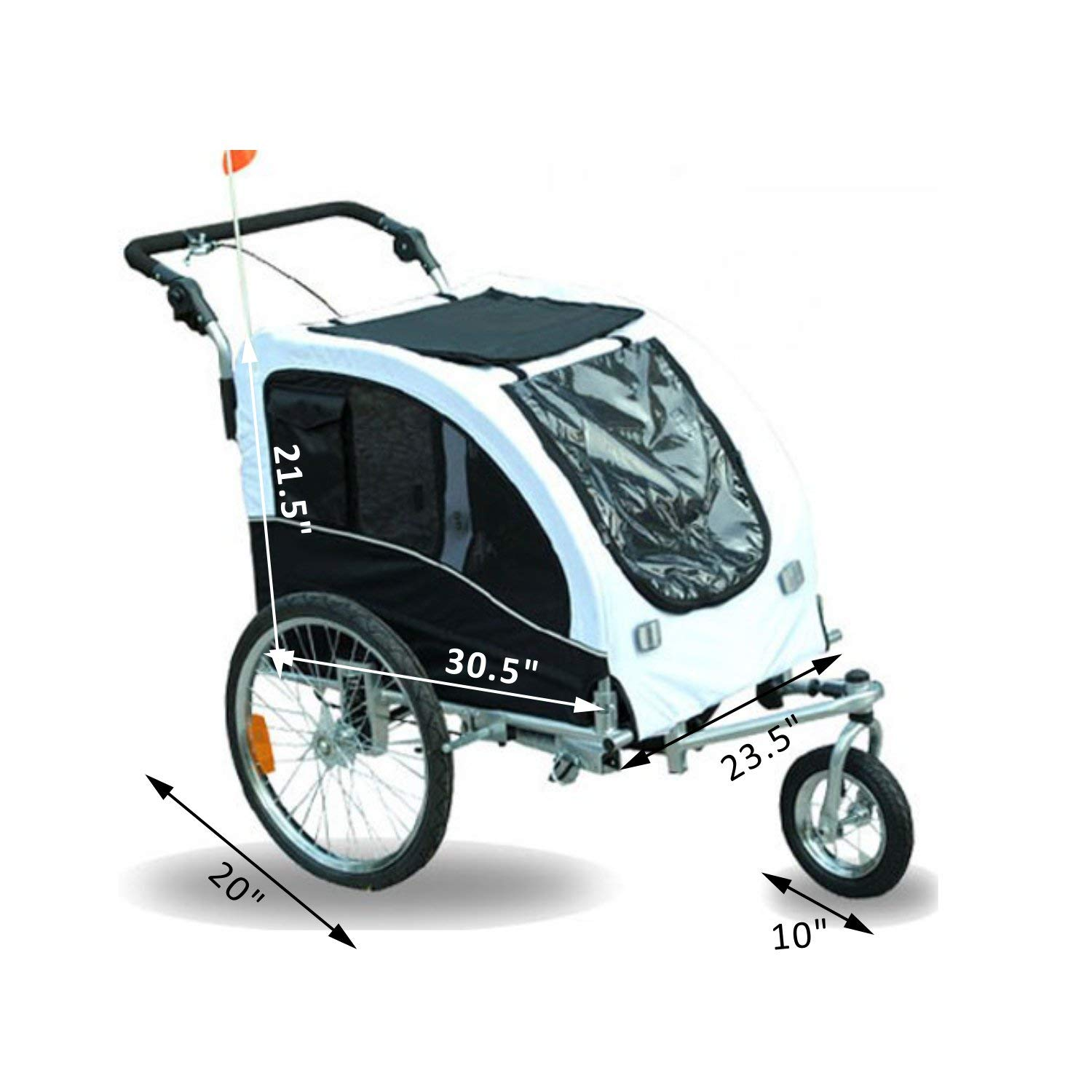 Godyluck 3 Entrances Design Dog Trailer for Bicycle with 360 Degrees Swivel Wheel, Max Load 88 LBS | White and Black