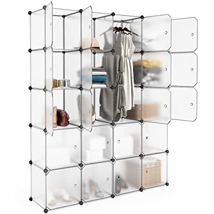 Langria 20 Cubby Shelving Closet System Cube Organizer Plastic Storage Cubes Drawer Unit Diy Modular Bookcase Cabinet With Translucent Design For