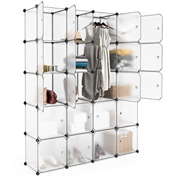 Peachy Langria 20 Cubby Shelving Closet System Cube Organizer Plastic Storage Cubes Drawer Unit Diy Modular Bookcase Cabinet With Translucent Design For Interior Design Ideas Lukepblogthenellocom