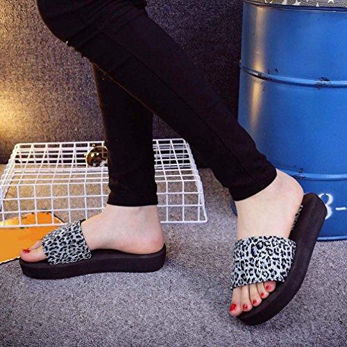Mujer Chanclas, Malloom Mujeres Verano Leopardo Impresión Zapatos Sandalias Zapatillas Blanco