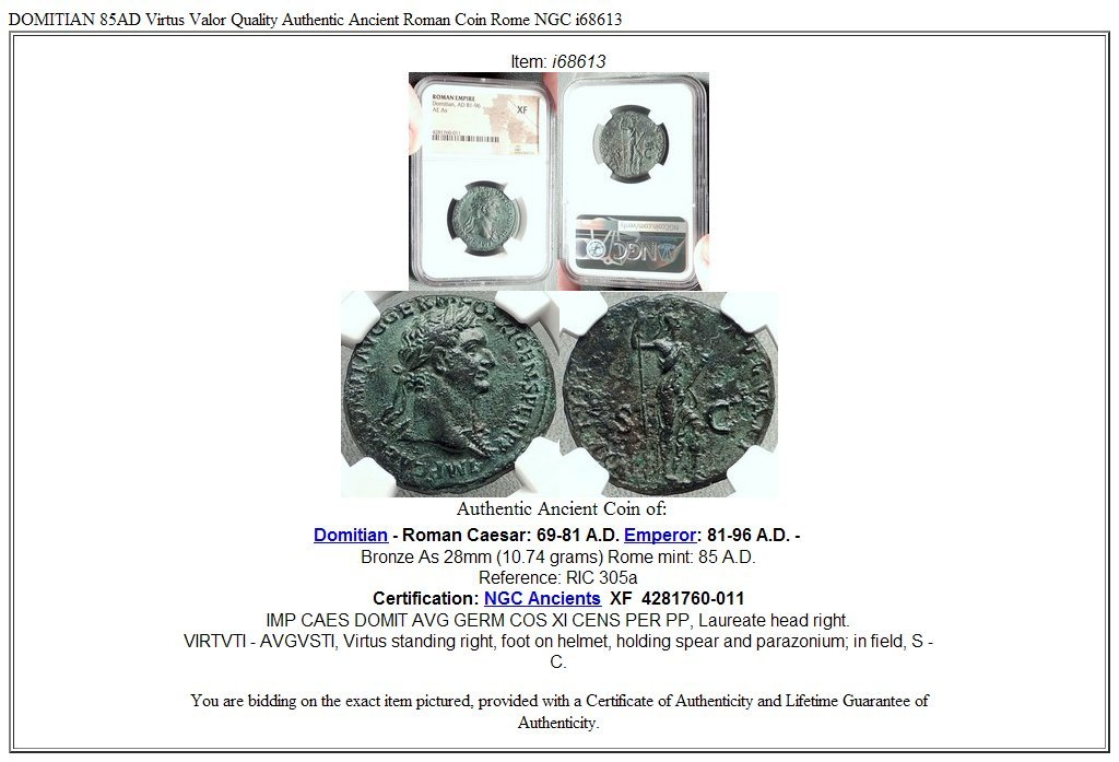 85 It Domitian 85ad Virtus Valor Quality Authentic Anci As Xf Ngc At