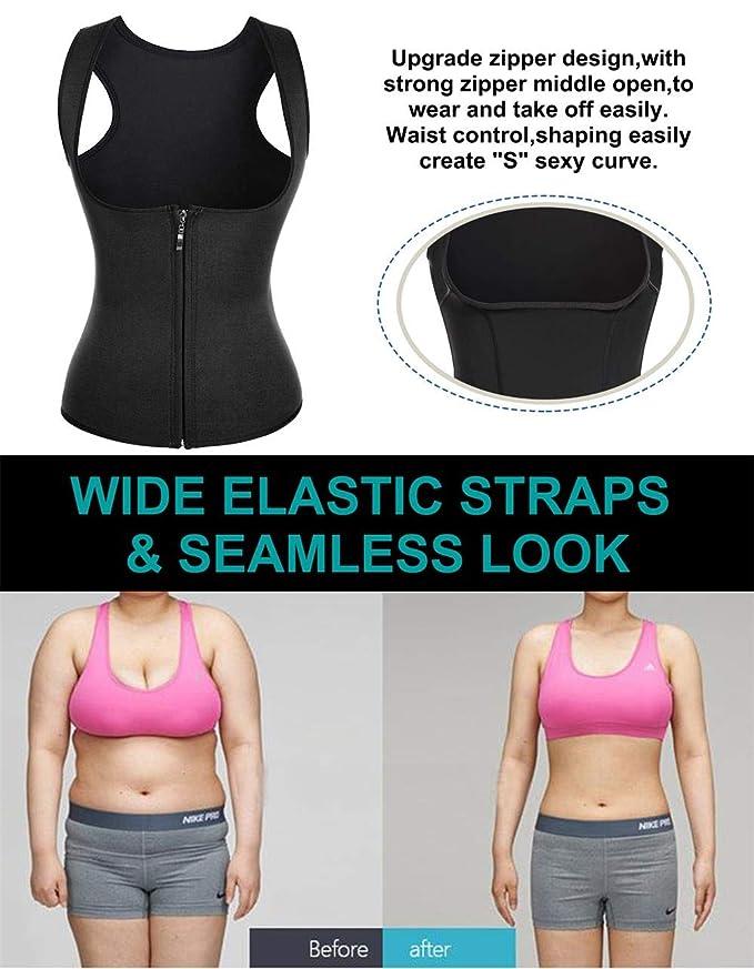 667756ae14d Women Hot Sweat Neoprene Weight Loss Tank Top Shirt Waist Trainer Vest  Zipper Corset Body Shaper Cincher Training Workout at Amazon Women s  Clothing store