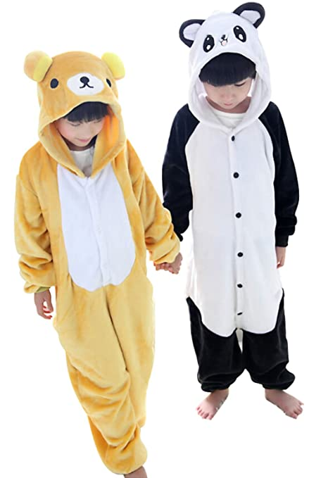 """Kid Winter Panda Pajamas Flannel Rilakkuma Animal Sleepwear (M (49""""-53""""), panda)"""