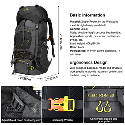 Vbiger 60L Outdoor Backpack Waterproof Backpacking Pack Travel Daypack for Climbing, Hiking, Trekking, Mountaineering, with Rain Cover (Black) by VBIGER (Image #2)