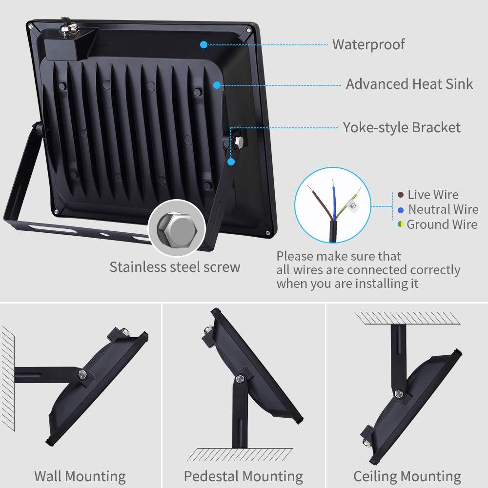 Viugreum Focos LED Exterior, Iluminación interior exterior, Impermeable IP65, Foco proyector LED, Blanco frío/Blanco Cálido (50W Blanco Cálido): Amazon.es: ...