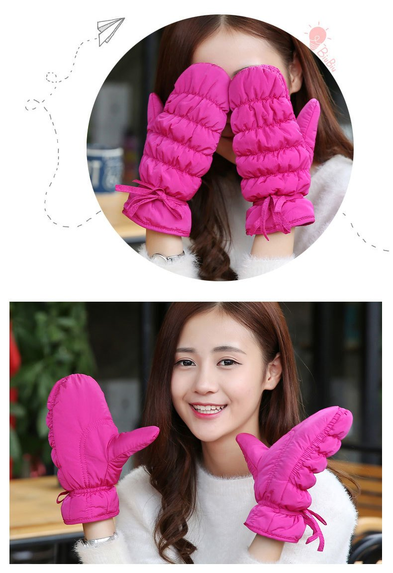 Generic Feather_cotton_ glove gloves women girls winter _Korean_style_of lovely _windproof_ski_outdoor_ glove gloves women girls winter _thick_warm_riding_ students .
