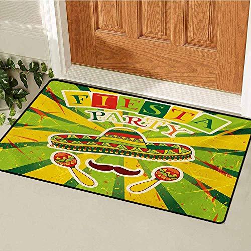 GUUVOR Fiesta Front Door mat Carpet Sprites with Sombrero Maracas Mustache Mexican Hand Drawn Illustration Machine Washable Door mat W19.7 x L31.5 Inch Green Yellow Vermilion
