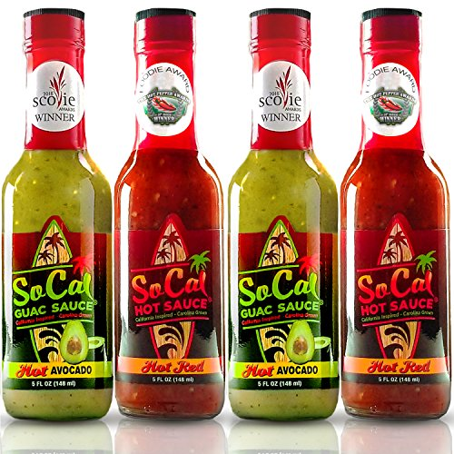 SoCal Hot Sauce | Spicy Set |4-Pack| 2 Bottles Each of: Hot Avocado Guac Sauce- Smooth Salsa Verde with Fiery Green Chiles | Hot Red- Authentic Cali Style Ghost Pepper and Habanero Taco Hot Sauce