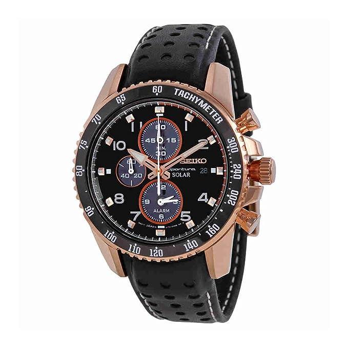 Seiko Solar Chronograph Black Dial Leather Strap Men's Watch SSC274