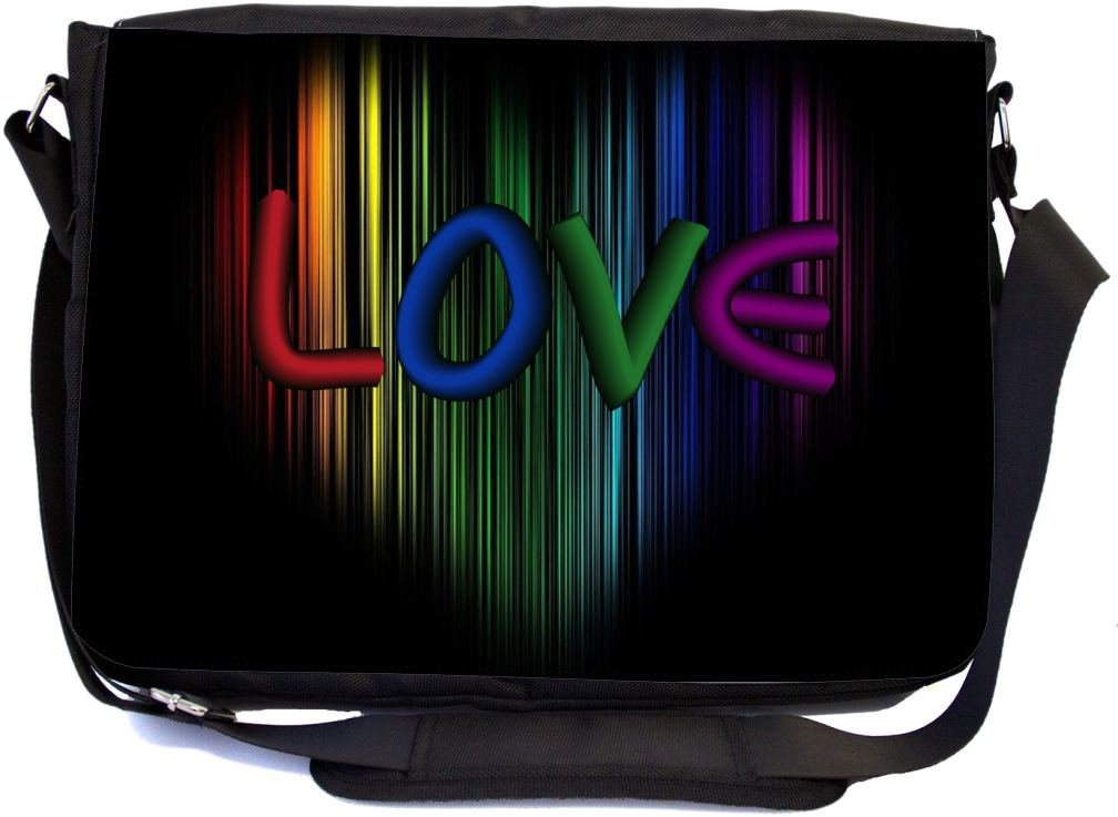 Rikki Knight Rainbow Love on Heart Design Multifunctional Messenger Bag - School Bag - Laptop Bag - with Padded Insert for School or Work - Includes Matching Compact Mirror