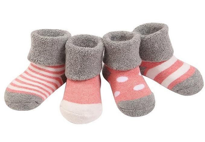 (Pack de 4 pares)Bebés niñas Calcetines Infantiles de Algodón Rayados con puntos 0