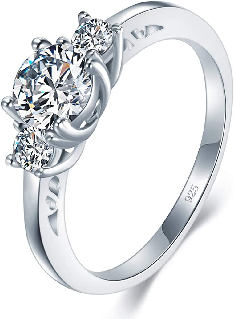 BORUO 925 Sterling Silver Ring, Cubic Zirconia CZ Eternity Engagement  Wedding Band Ring | Amazon.com