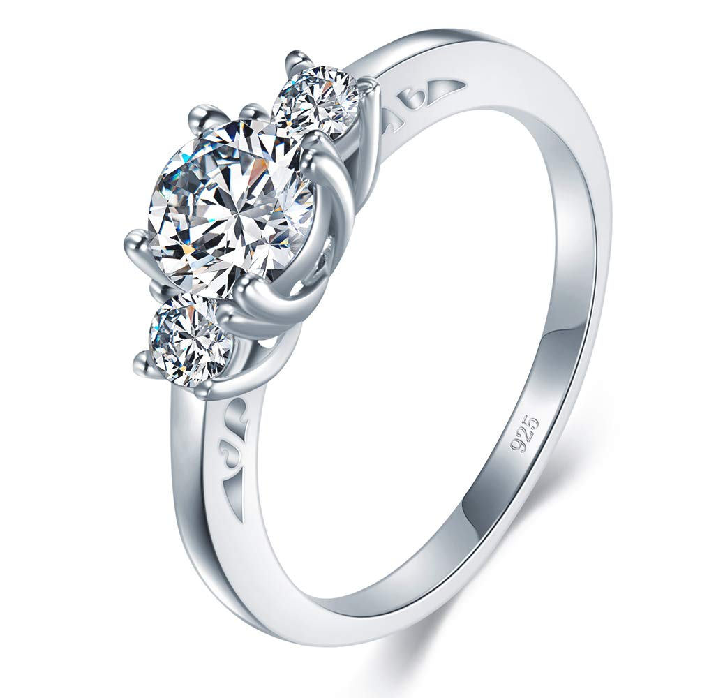 BORUO 925 Sterling Silver Ring Cubic Zirconia CZ Eternity Engagement Wedding Band Ring