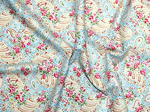 Blue Fq Quilting Fabric - Free Spirit Tanya Whelan Delilah Paisley Poplin Quilting Fabric Blue - per fat quarter