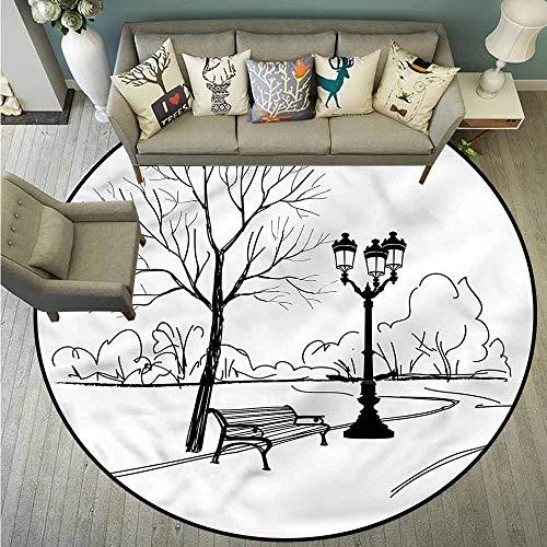 Bedroom Round Rugs,Tree,Serenity in Fall Park,Anti-Slip Doormat Footpad Machine Washable,4'3